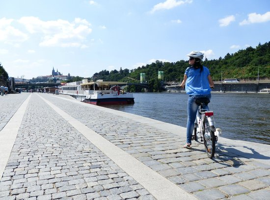 Prague E-bike tours and E-bike rental: E-bike view at Vltava river