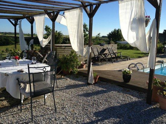 Le Moulin Pastelier : dinner in the garden