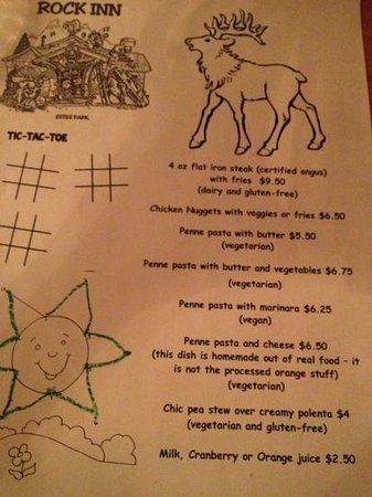 Rock Inn Mountain Tavern: kids menu