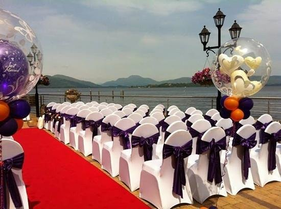 Duck Bay Hotel & Marina: set up outside for our wedding