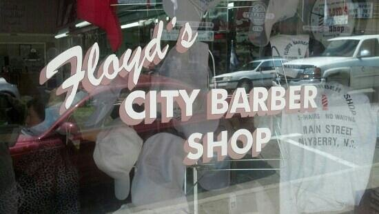 Floyd's City Barbershop: Floyd's front window