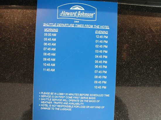 Howard Johnson Inn Jamaica JFK Airport NYC: SHUTTLE DEPARTURE SCHEDULE