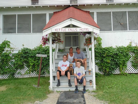Kettle Falls Hotel: on the front steps of the hotel