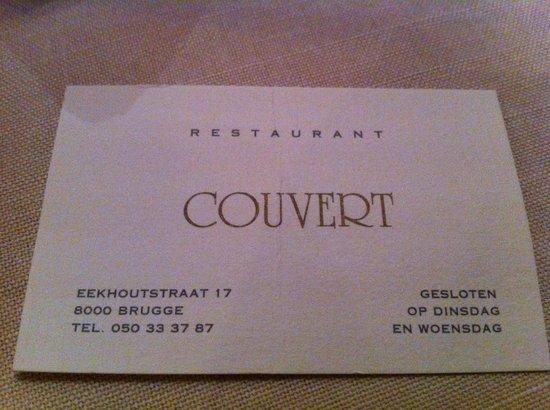 Restaurant Couvert: Cartao