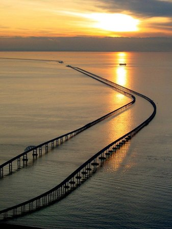 Cape Charles, VA: Spectacular sunsets are an almost daily occurrence  along the Chesapeake Bay Bridge-Tunnel