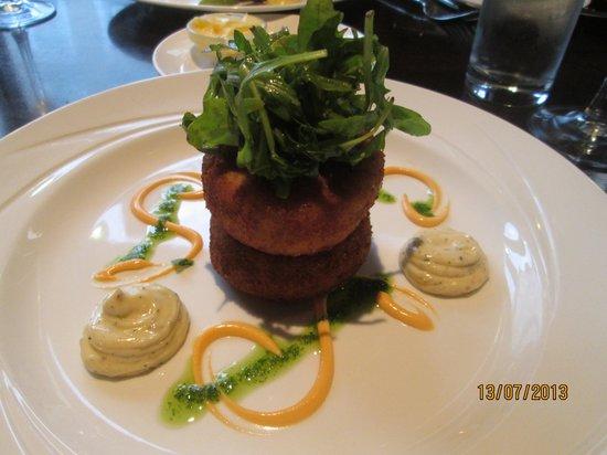 Treyvaud's : Starter -Fish Cakes with Wholegrain Mustard, chives and garlic aioli