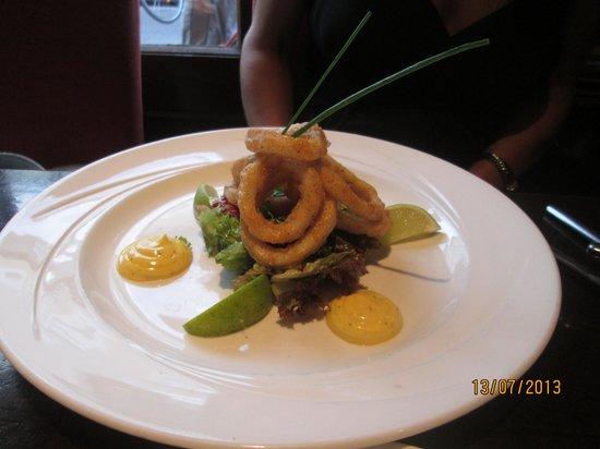 Treyvaud's : Starter-Deep Fried Calamari with saffron and citrus rouille