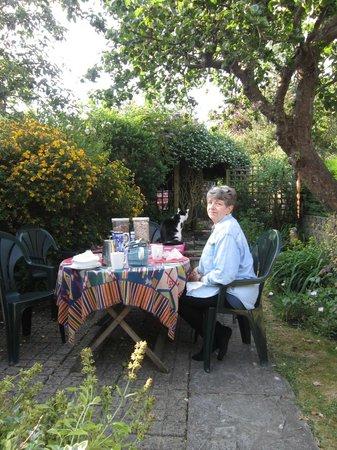 Jasmin Cottage: My mother enjoying her breakfast.