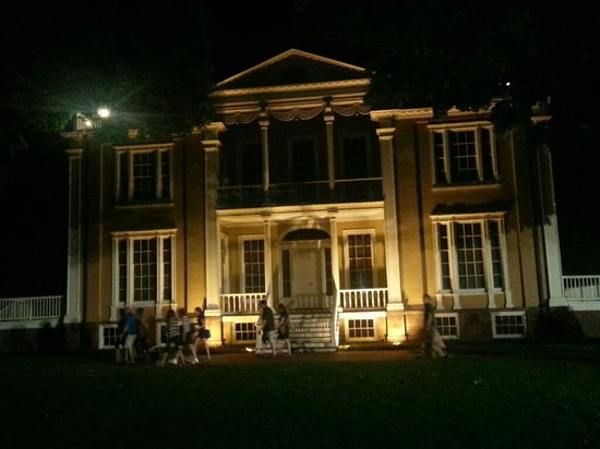Boscobel House & Gardens: front of house at night