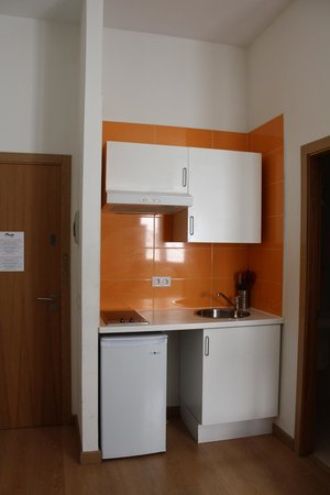 "Km1 Tirso de Molina Apartments : ""kitchenette"" with no microwave or oven, dirty dishes and no proper utensils."