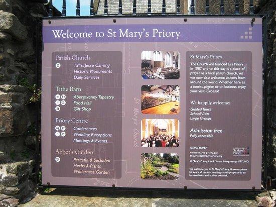 The Tithe Barn, St Marys Church: St Marys and Tithe Barn Abergavenny The Welcome Board