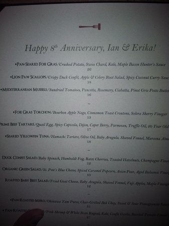 Cork Restaurant: Menu