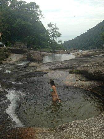 Telaga Tujuh Waterfalls: Swimming at the top of the falls