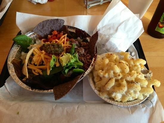 The Fix: taco salad and steak, truffle oil Alfredo