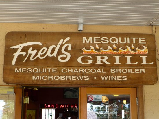 Freds Mesquite Grill: Front door sign