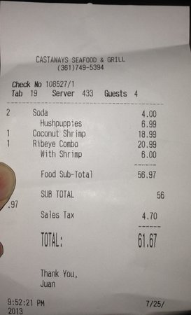 Castaways Seafood and Grill : This is just one of the receipts