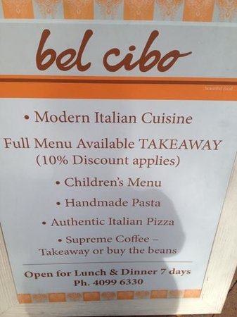 bel cibo: set menu