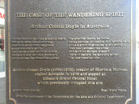 Yella Umbrella Walking Tours: Awesome Adelaide. Plaque commemorat Sir Arthur Conan Doyle's visit to Adelaide in 1920. You will