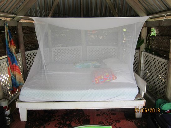 Vacations Beach Fales: Our Bed & Mossie nets