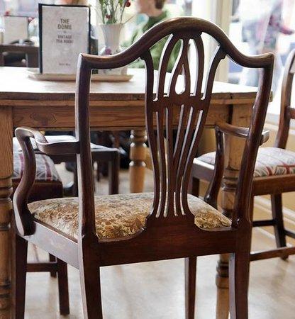 Vintage Tea Room: Comfy mix and match mahogany and oak antique furniture