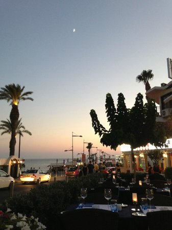 Sunset over Paphos Harbour from the Gourmet Taverna