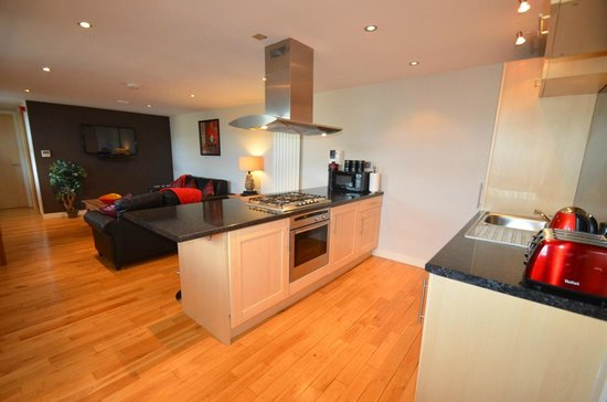 93a Grey Street Apartments: Open plan kitchen / living room