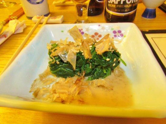 Doraku Japanese Cuisine: OHITASHI- COLD BOILED SPINACH WITH BONITO FLAKES IN DASHI