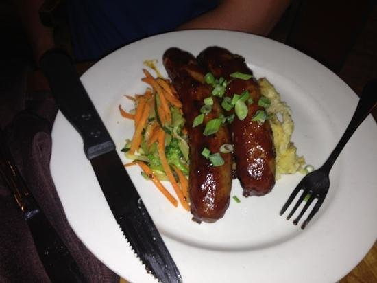 Phantom Canyon Brewing Co: Bratwurst- locally made-yummy! Spicey BBQ sauce