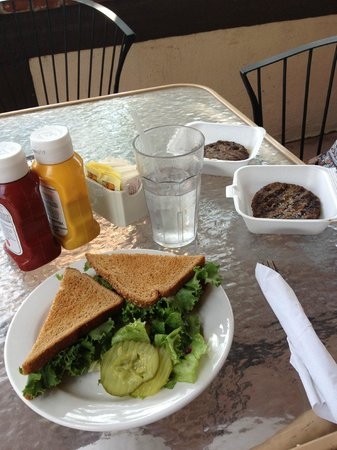 Mustard Seed Restaurant: BLT for me and Burger Patties for Leo and Gus