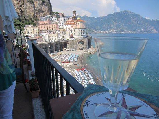 La Scogliera: View from the other double's terrace (and pretty glassware)