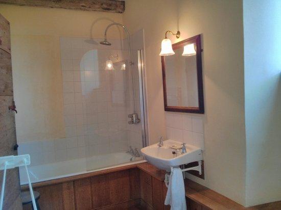 Woodspring Priory: Bathroom - downstairs with shower; Upstairs bathroom no shower, only bath