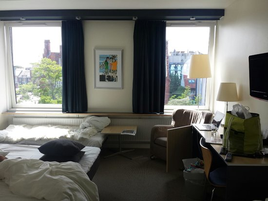 """Britannia Hotel: View into hotel room (""""family room"""") from doorway"""