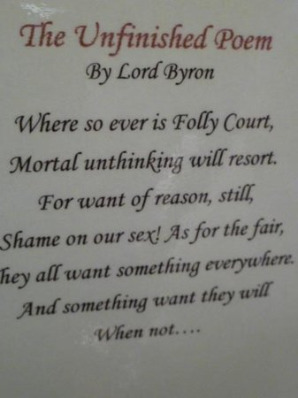 The Temple: Copy of Lord Byron's poem written when the hotel was a house