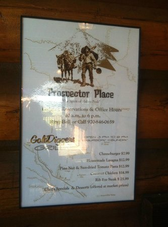 Prospector Place- GoldDigger Grill and Povery Bar: Basic Menu w. Additional and Specials offered daily