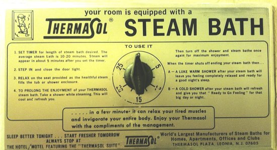 Budget Host Melody Lane Motel: Vintage Thermasol Steam Bath control for in-room sauna