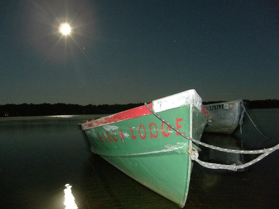 Birch Lodge & Motel: Row boats at night
