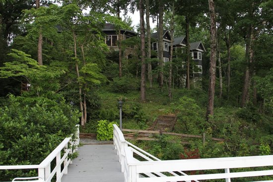 The Lodge on Lake Lure: View of the Lodge from the sundeck