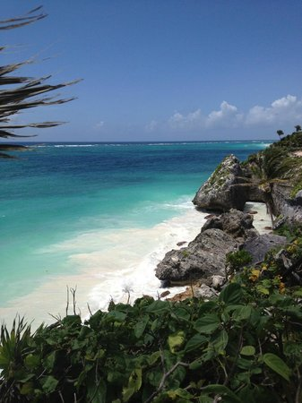 Amansala Eco-Chic Resort + Retreat: The beach below the Tulum Mayan ruins