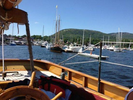 "Schooner Olad Windjammer Cruise: Sitting in the ""wheel house"""