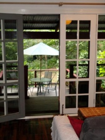 Stone's Throw Cottage B&B: View of patio from inside cottage