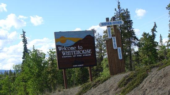 Alaska Highway: Sign on Alaska Hwy. entering Whitehorse Yukon