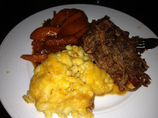 The Prime Smokehouse Barbecue & Beyond: Texas pulled BBQ beef, Mac n cheese and orange ginger yams!
