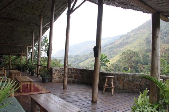 The Engagi Lodge: Patio with Bwindi Forest View