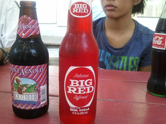 Home Slice Pizza: Big Red and Saint Arnold Root Beer (sugar, not HFC)