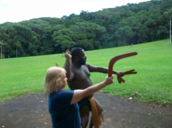 Rainforestation Nature Park: Learning to throw a boomerang