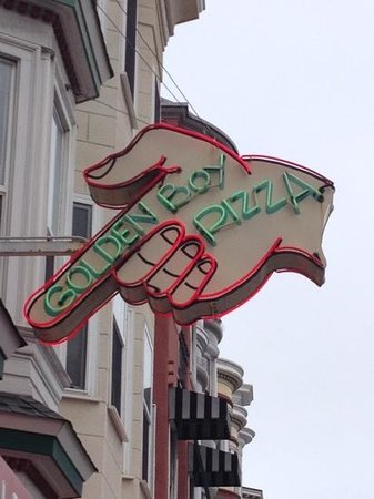 Golden Boy Pizza : Look for the neon pointing the way to great food.