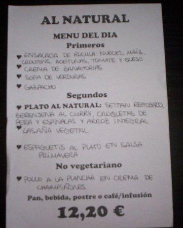 Al Natural: menu