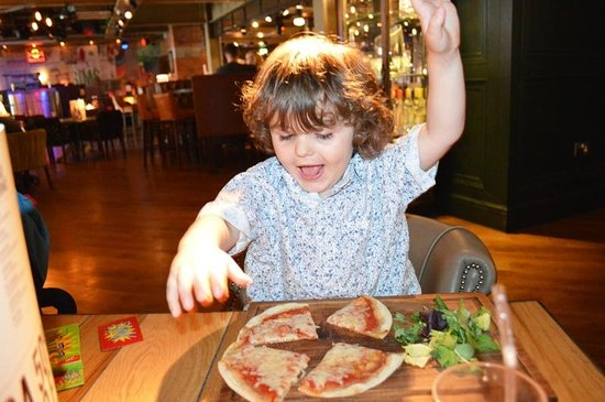 Revolution Blackpool: Kids Pizza and Salad, he was very pleased!