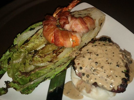 Ironwood Tavern: Wood Grilled Sirloin Steak with bacon wrapped jumbo tiger shrimp