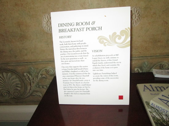 The Leonard at Logan House Bed and Breakfast: example of historical information about the rooms